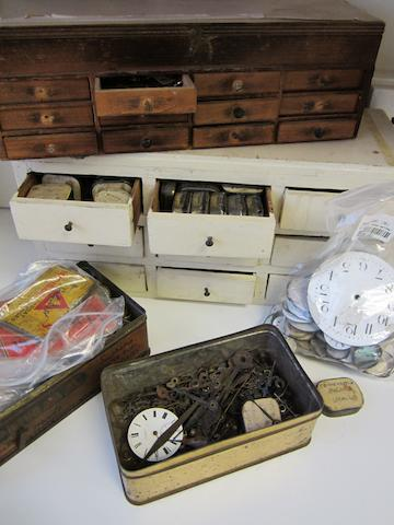 An interesting lot of various watchmaker and clockmaker's parts and equipment