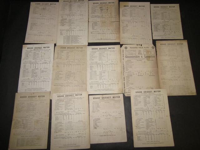A collection of 1880's cricket scorecards