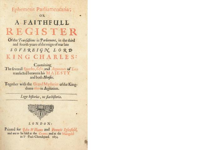 FULLER (THOMAS)] Ephemeris Parliamentaria, 1654