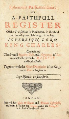 FULLER (THOMAS)] Ephemeris Parliamentaria, 1654