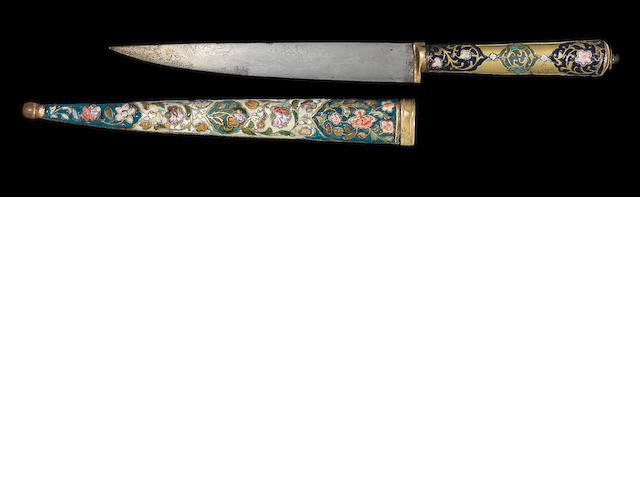 An Ottoman enamelled and inset gilt copper Dagger Turkey, late 18th Century(2)