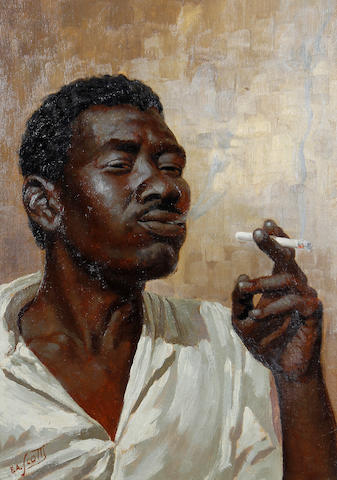Titta Fasciotti (South African, 1927-1993) Portrait of a man smoking