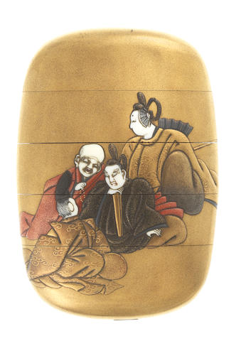 A gold lacquer four-case inro By Shokasai, late 19th century