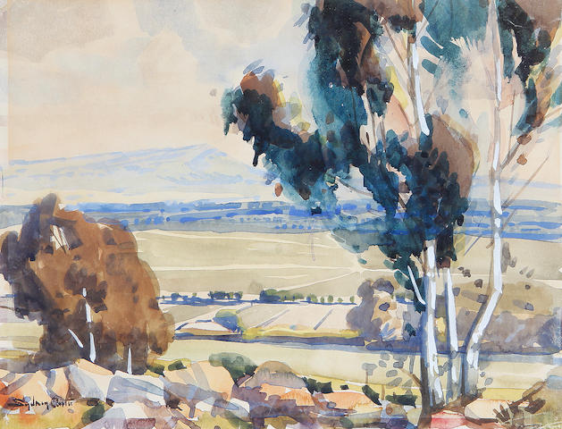 Sydney Carter (South African, 1874-1945) Landscapes, a set of two 24 x 30.5cm (9 7/16 x 12in) and 21 x 28cm (8 1/4 x 11in). (2)