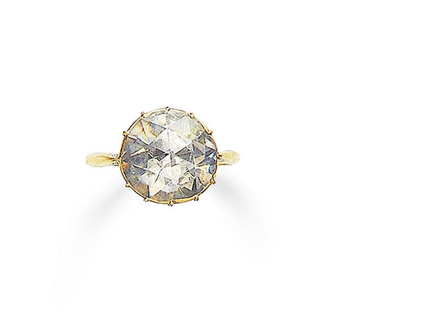A late 19th century diamond single-stone ring