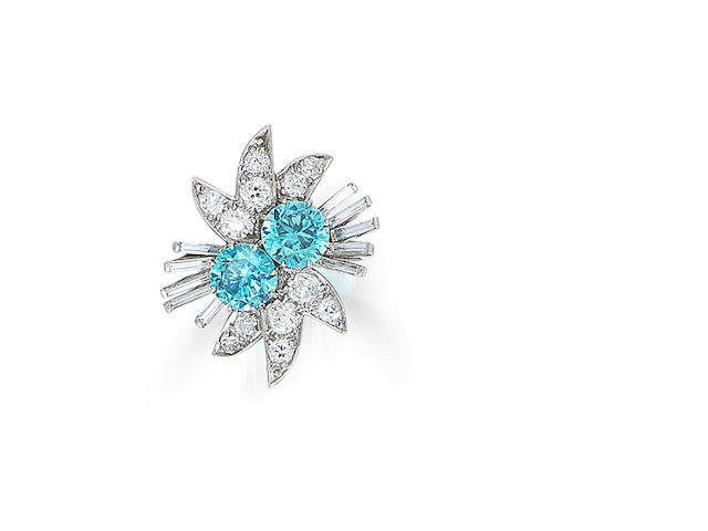 A blue zircon and diamond dress ring, mounted by Cartier,