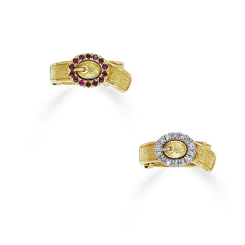 A ruby ring, by Cartier, circa 1955, a pair of ruby earclips, circa 1960, a pair of gold and gem-set rings, by Ben Rosenfeld, circa 1970  (4)