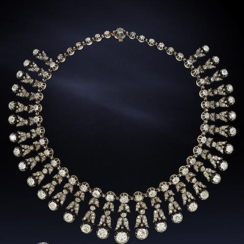 A late 19th century diamond fringe necklace