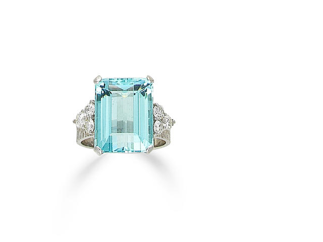 An aquamarine and diamond ring, by Boodle & Dunthorne,