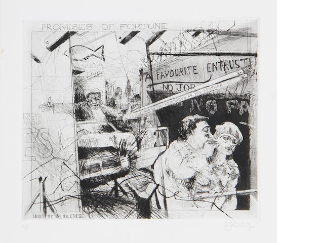 William Joseph Kentridge (South African, born 1955) 'Promises of fortune' (Artist's Proof) 25 x 29cm (9 13/16 x 11 7/16in) (PL).
