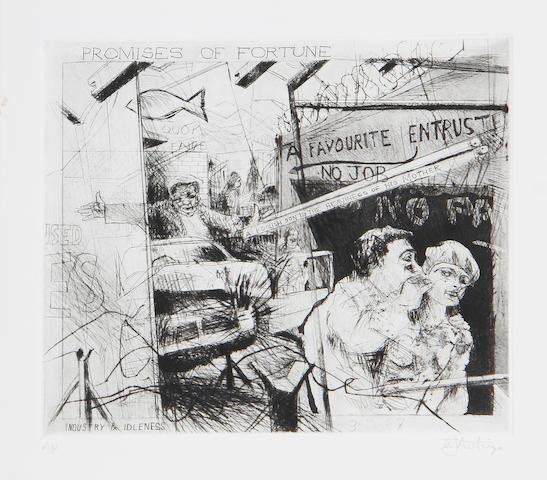 William Joseph Kentridge (South African, born 1955) 'Promises of fortune' (Artist's Proof) 25 x 29cm (9 13/16 x 11 7/16in) (PL).
