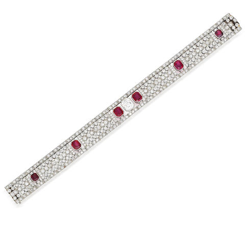 An art deco ruby and diamond bracelet,