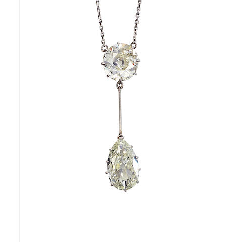 A diamond two-stone pendant,