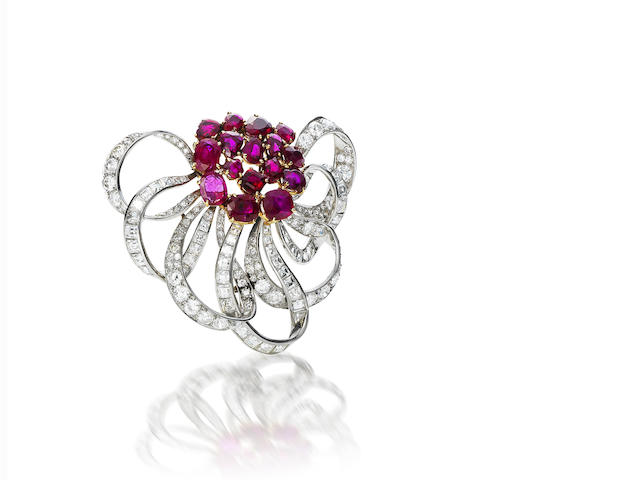 A ruby and diamond brooch, by Chaumet,