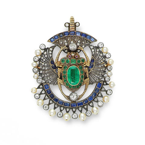 A multi gem-set and diamond scarab brooch/pendant, first quarter of the 20th century