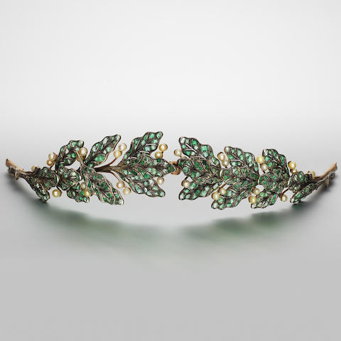 An emerald, pearl and diamond tiara,