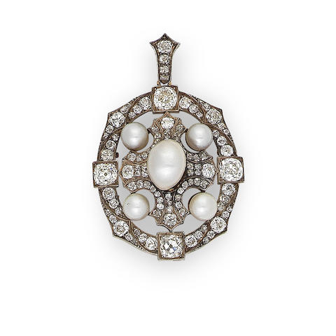 A late 19th century diamond and pearl pendant