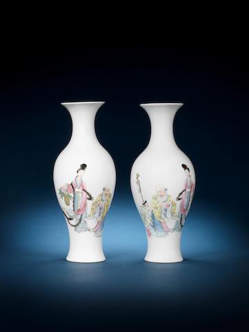 A pair of famille rose slender trumpet-necked baluster vases Iron-red Jurentang zhi seal mark, Republic Period