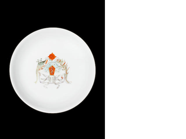 An unusual enamelled saucer dish Circa 1930