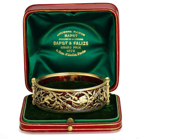 A gold and enamel bangle, by Bapst & Falize,