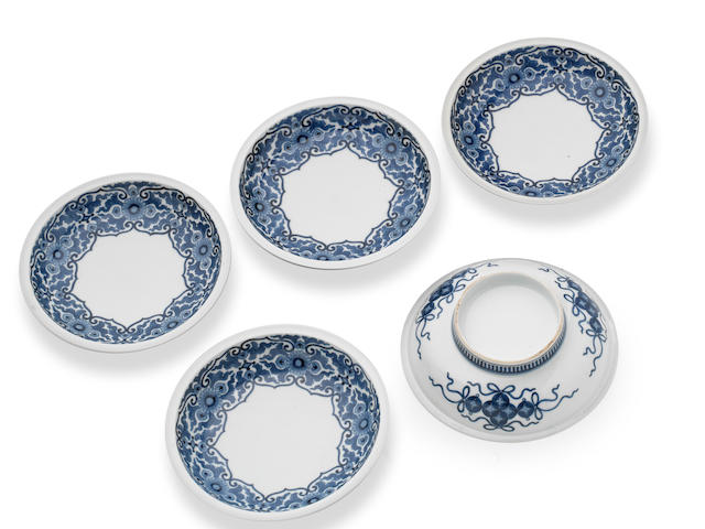 A fine set of five Nabeshima blue and white dishes Edo Period, first half of 18th century