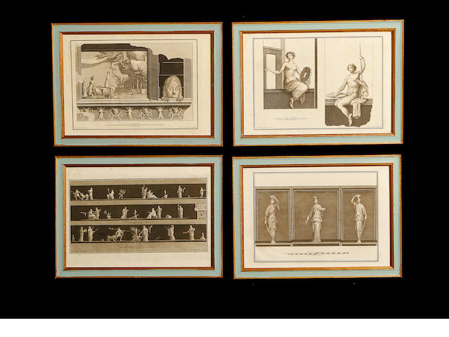 A set of seventeen 18th century copper plate engravings from Le Antichita di Ercolano Esposte (The antiquities of Herculaneum)