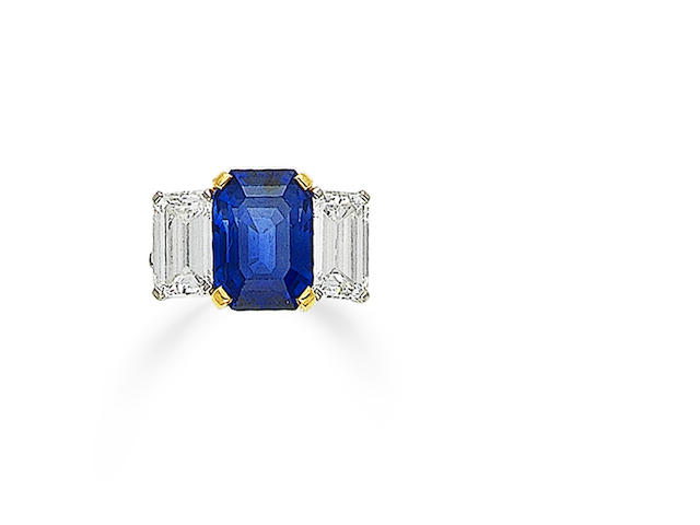 A three-stone sapphire and diamond ring, by Bulgari
