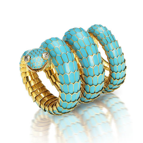 +An enamel and diamond bracelet watch, by Bulgari,