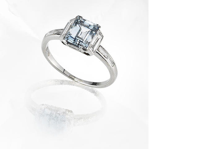 An art deco fancy-coloured diamond single-stone ring,