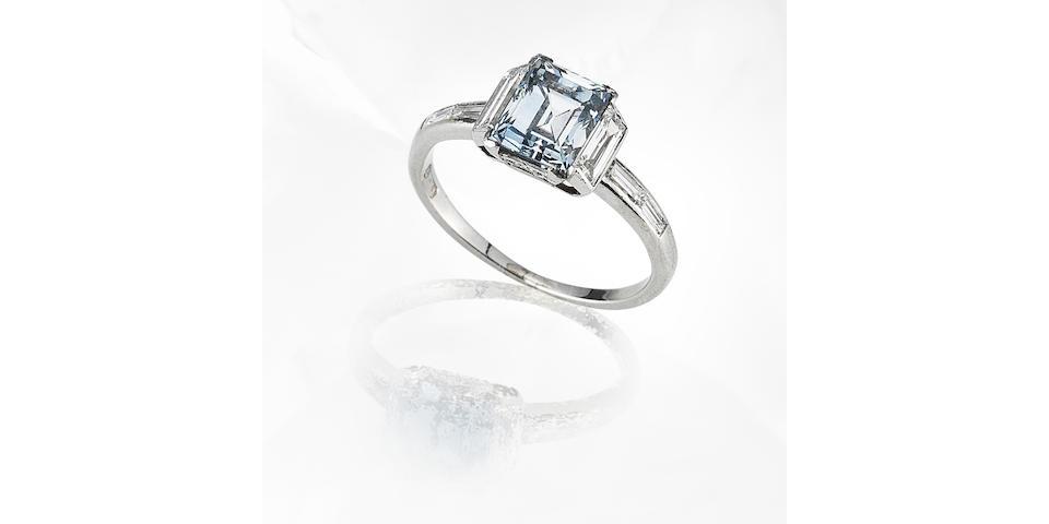 An art deco fancy-coloured diamond single-stone ring,