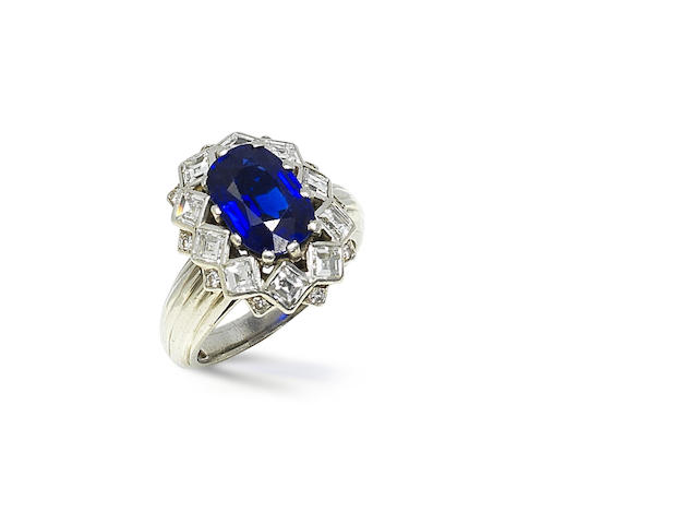 A sapphire and diamond cluster ring, by Mauboussin,