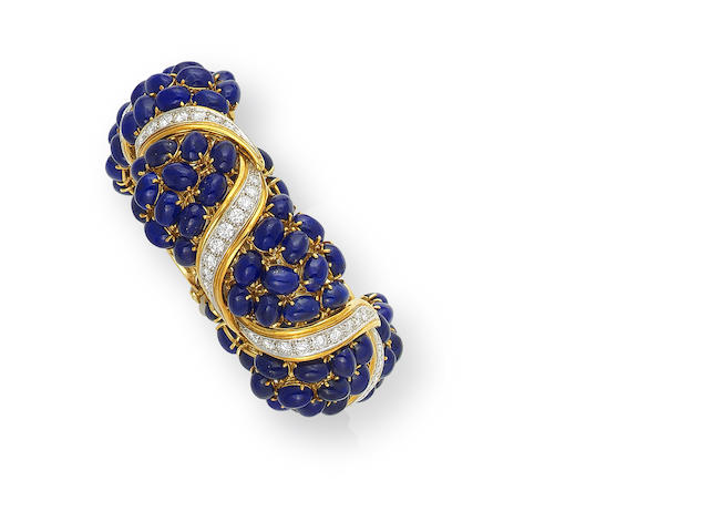 A lapis lazuli and diamond bracelet, by Hugo Fratini