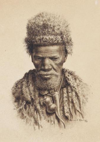 Gerard Bhengu (South African, 1910-1990) Portrait of a Zulu man