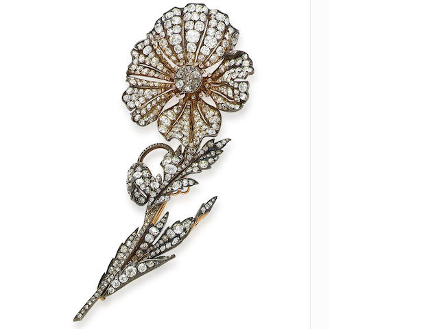 A 19th century diamond spray brooch,