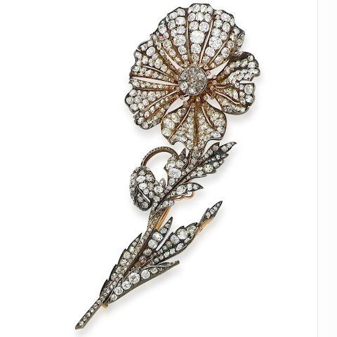 A 19th century diamond spray brooch,