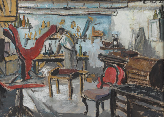 Freida Lock (South African, 1902-1962) The furniture restorer's workshop