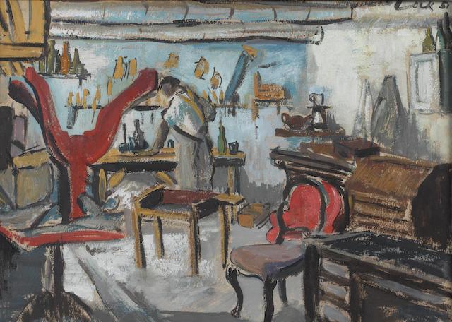 Freida Lock (South African, 1902-1962) The furniture restorer's workshop
