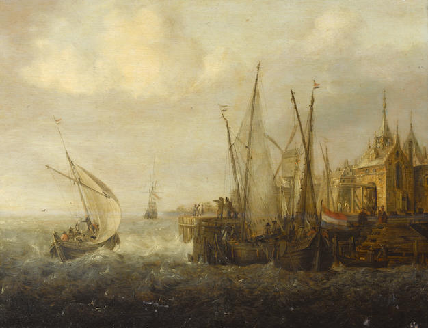 Jan Peeters (Antwerp 1624-1677) Shipping in choppy seas off a harbour