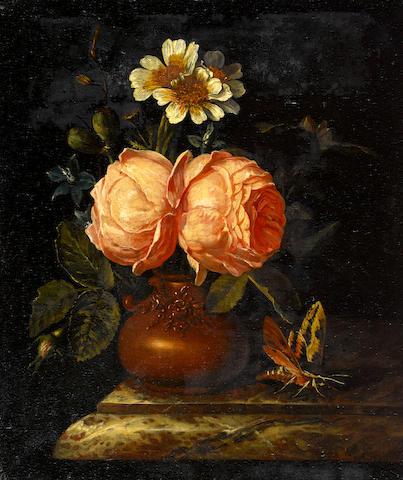 Willem Frederik van Royen (Haarlem 1645-1723 Berlin) Roses in an earthenware vase on a marble ledge unframed