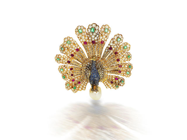 A rare gem-set and diamond peacock brooch, by Gustave Baugrand,