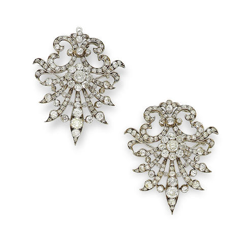 A pair of diamond brooch/pendants,