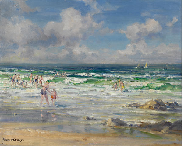 Frank McKelvey R.H.A., R.U.A. (Irish, 1895-1974) Swimming at Portstewart 40 x 50 cm. (15 3/4 x 19 3/4 in.)