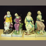 Two pairs of Staffordshire square based figures of Elijah and the Widow, 19th century
