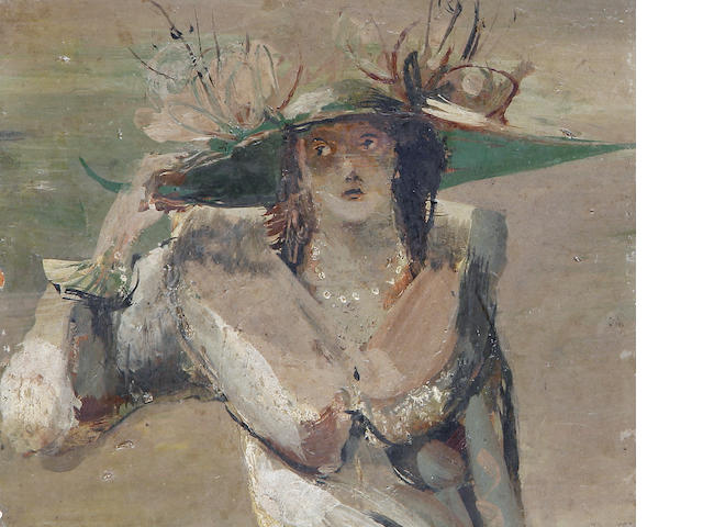 Christo Coetzee (South African, 1929-2001) A lady wearing a large green hat