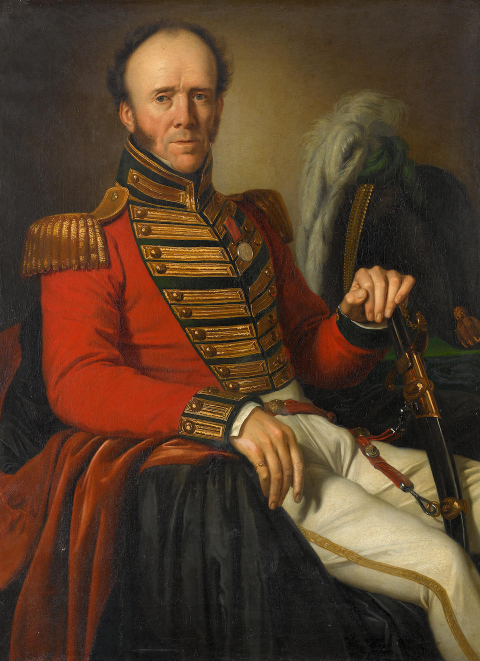 Giuseppe Bezzuoli (Italian, 1784-1855) Portrait of a British cavalry officer, three quarter length seated, in military attire wearing a Waterloo medal; Portrait of his wife, three quarter length seated, wearing a green dress, holding a book with a view of Florence in the background