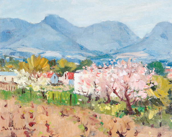 Pieter Gerhardus van Heerden (South African, 1917-1991) Spring fields with mountains in the distance