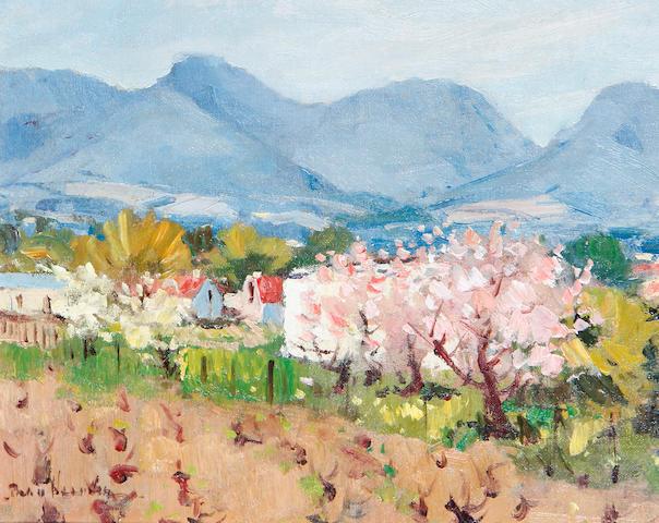 Pieter Gerhardus van Heerden (South African, 1917-1991) Spring fields with mountains in the distance