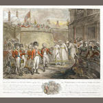 SINGLETON (HENRY) The Surrender of Two Sons of Tippo Sultaun, hand-coloured mezzotint, [c.1800]