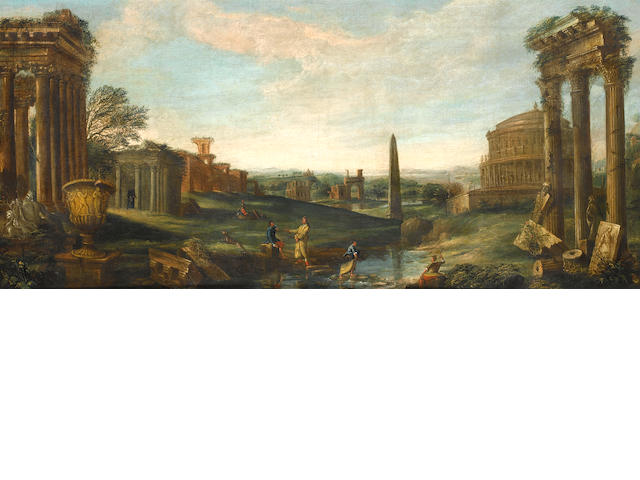 Follower of John Wootton (Snitterfield circa 1682-1764 London) A classical lanscape with elegant figures amongst ruins