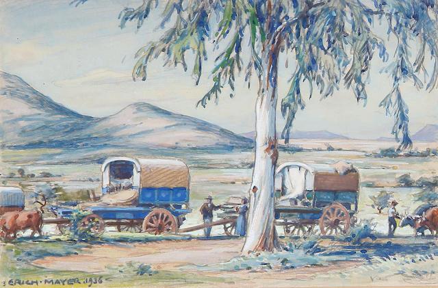 Erich Mayer (South African, 1876-1960) A wagon train